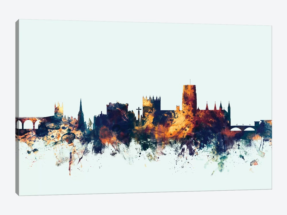 Durham, England, United Kingdom On Blue by Michael Tompsett 1-piece Canvas Artwork