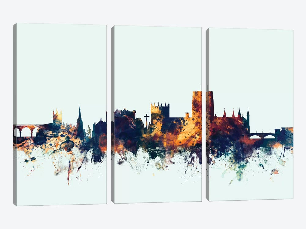 Durham, England, United Kingdom On Blue 3-piece Canvas Artwork