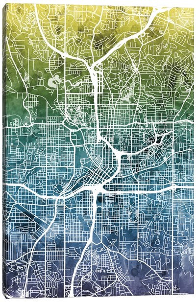 Color Gradient Urban Street Map Series: Atlanta, Georgia, USA Canvas Art Print