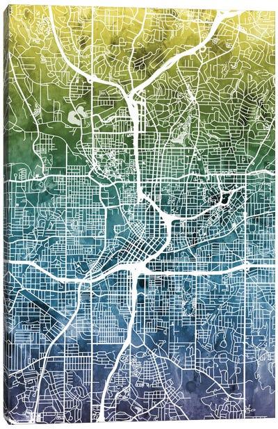 Color Gradient Urban Street Map Series: Atlanta, Georgia, USA Canvas Print #MTO25