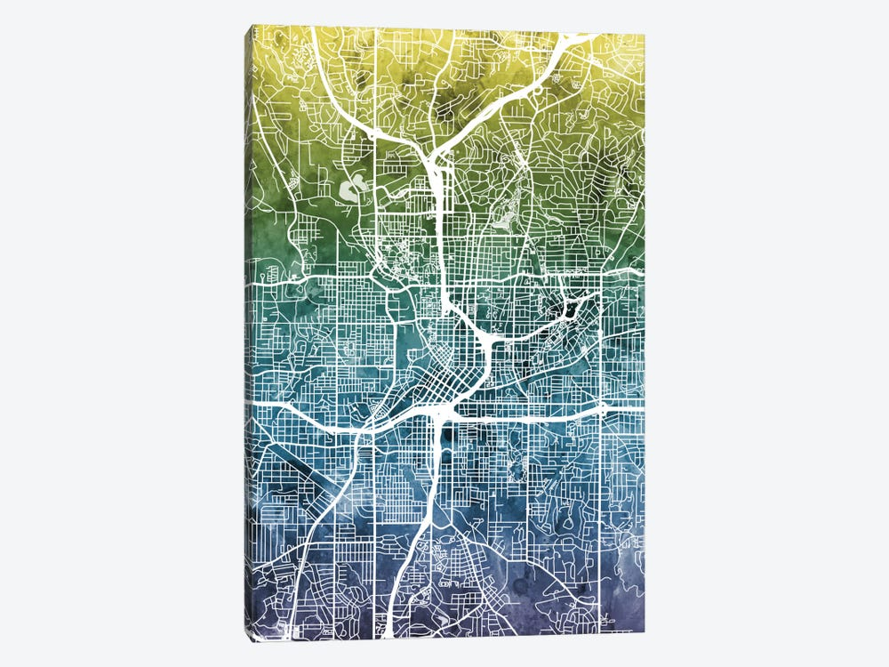 Color Gradient Urban Street Map Series: Atlanta, Georgia, USA 1-piece Canvas Wall Art