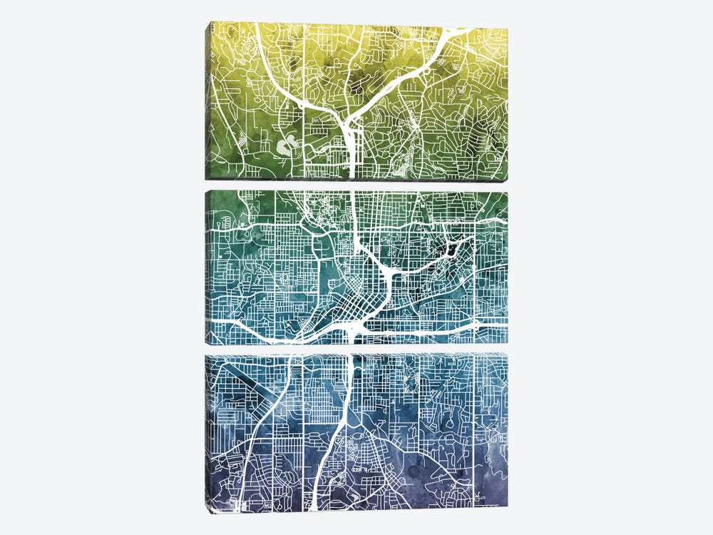 Color Gradient Urban Street Map Series: Atlanta, Georgia, USA by Michael Tompsett 3-piece Canvas Art