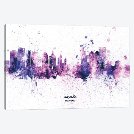 Oakland California Splash Purple Canvas Print #MTO2600} by Michael Tompsett Canvas Wall Art