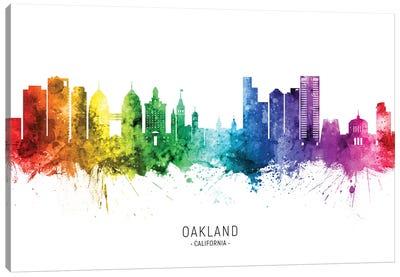 Oakland California Skyline Rainbow Canvas Art Print