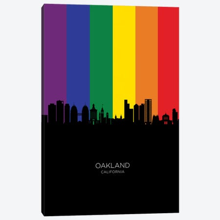 Oakland California Skyline Rainbow Flag Canvas Print #MTO2602} by Michael Tompsett Canvas Art