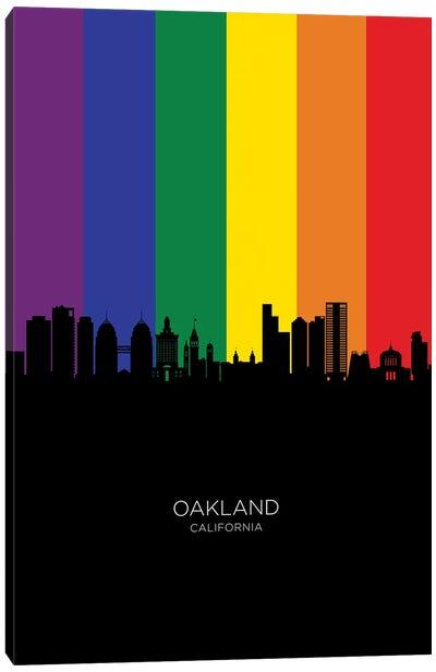 Oakland California Skyline Rainbow Flag Canvas Art Print