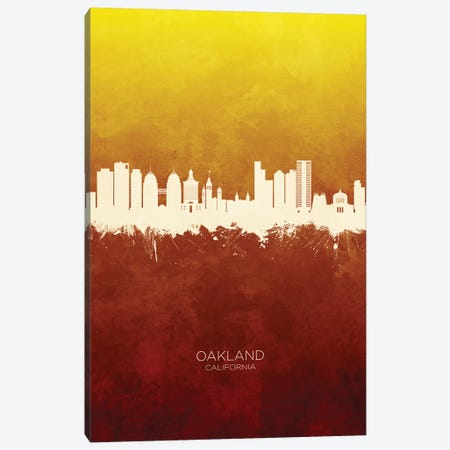 Oakland California Skyline Red Gold Canvas Print #MTO2604} by Michael Tompsett Art Print