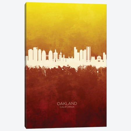 Oakland California Skyline Red Gold Canvas Print #MTO2604} by Michael Tompsett Art Print