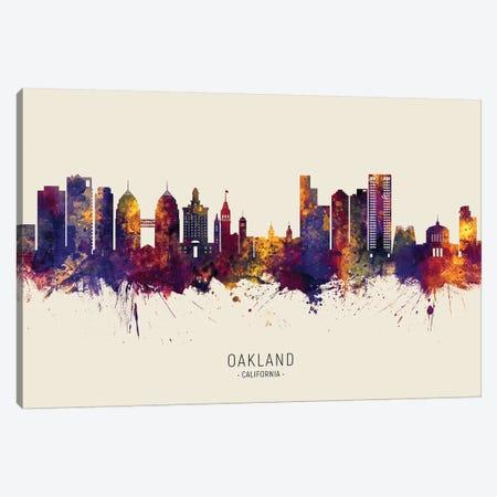 Oakland California Skyline Red Beige Canvas Print #MTO2605} by Michael Tompsett Art Print