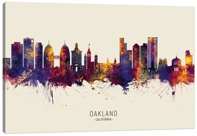 Oakland California Skyline Red Beige Canvas Art Print