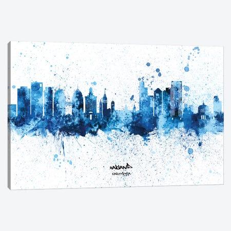 Oakland California Skyline Splash Blue Canvas Print #MTO2606} by Michael Tompsett Art Print