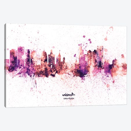 Oakland California Skyline Splash Pink Canvas Print #MTO2607} by Michael Tompsett Canvas Art Print