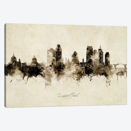 Saint Paul Minnesota Skyline Vintage Canvas Print #MTO2609} by Michael Tompsett Canvas Art
