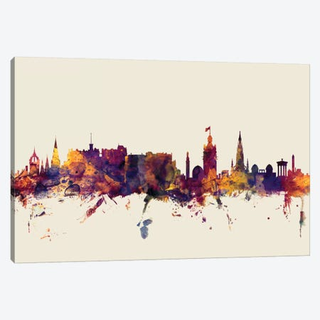 Edinburgh, Scotland, United Kingdom On Beige Canvas Print #MTO260} by Michael Tompsett Canvas Print