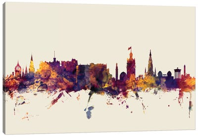Skyline Series: Edinburgh, Scotland, United Kingdom On Beige Canvas Art Print