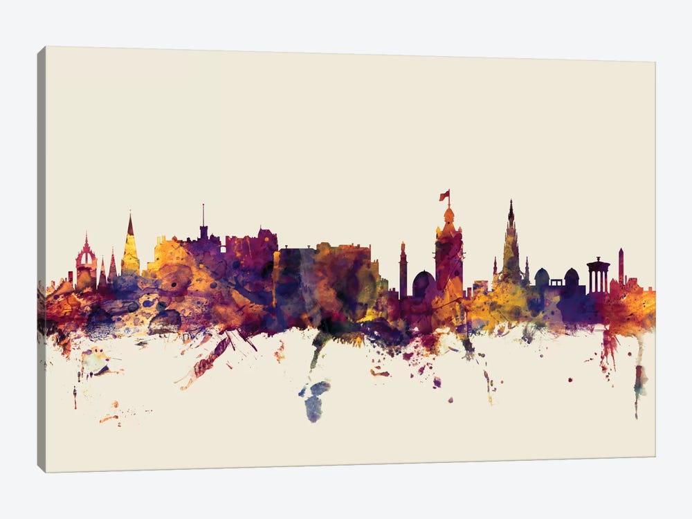 Edinburgh, Scotland, United Kingdom On Beige by Michael Tompsett 1-piece Canvas Wall Art