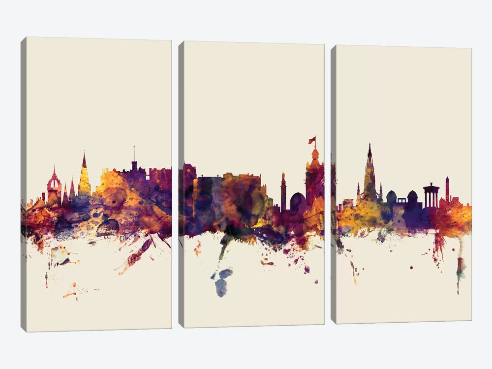 Edinburgh, Scotland, United Kingdom On Beige by Michael Tompsett 3-piece Canvas Artwork