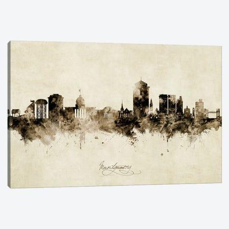 Montgomery Alabama Skyline Vintage Canvas Print #MTO2610} by Michael Tompsett Canvas Art Print