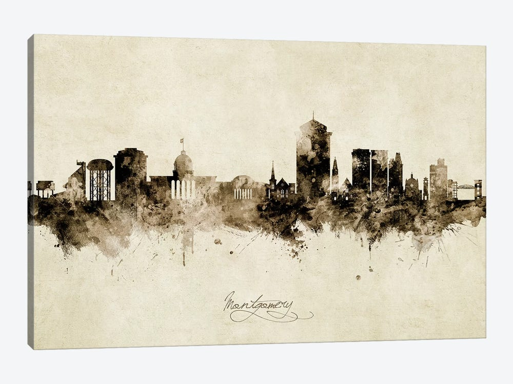 Montgomery Alabama Skyline Vintage by Michael Tompsett 1-piece Canvas Wall Art