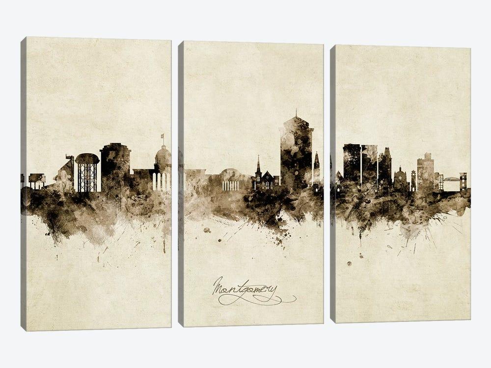 Montgomery Alabama Skyline Vintage by Michael Tompsett 3-piece Canvas Wall Art