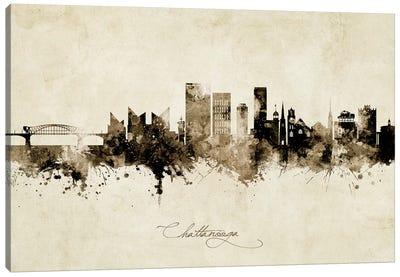 Chattanooga Tennessee Skyline Vintage Canvas Art Print