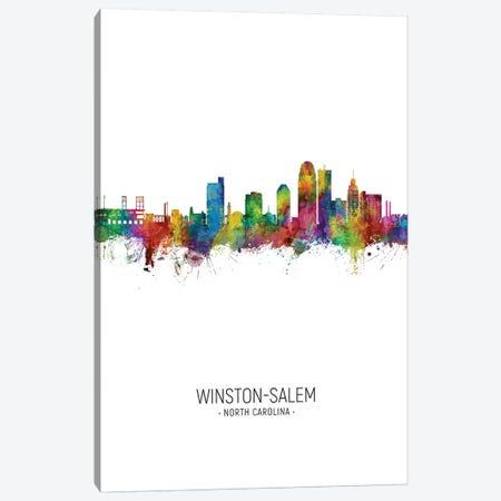 Winston Salem Skyline Portrait Canvas Print #MTO2613} by Michael Tompsett Canvas Print
