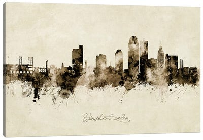 Winston Salem Skyline Vintage Canvas Art Print