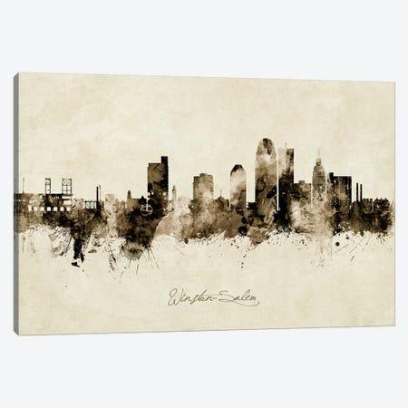 Winston Salem Skyline Vintage Canvas Print #MTO2614} by Michael Tompsett Canvas Artwork