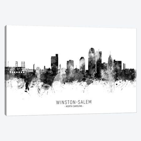 Winston Salem Skyline Name Black & White Canvas Print #MTO2615} by Michael Tompsett Canvas Wall Art