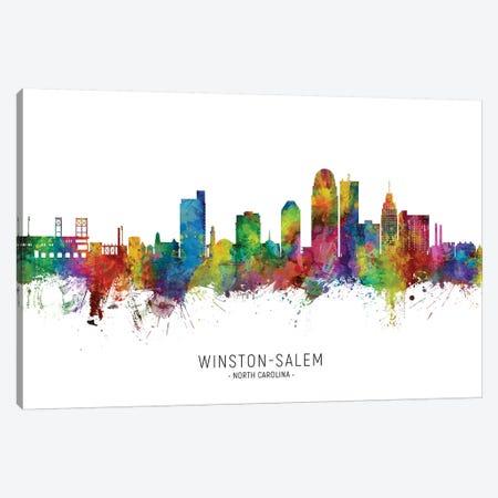 Winston Salem Skyline City Name Canvas Print #MTO2616} by Michael Tompsett Canvas Art