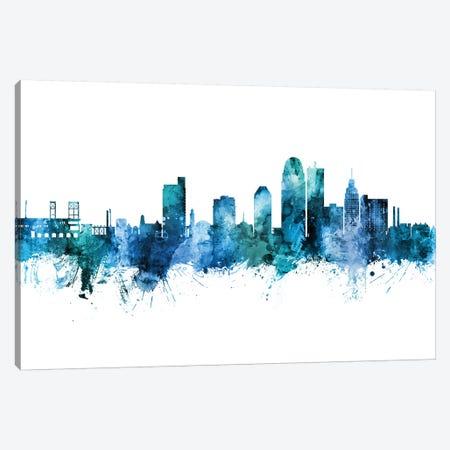 Winston Salem Skyline Blue Teal Canvas Print #MTO2617} by Michael Tompsett Canvas Artwork