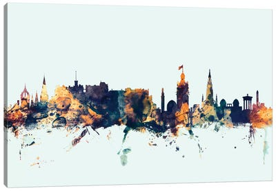 Skyline Series: Edinburgh, Scotland, United Kingdom On Blue Canvas Art Print