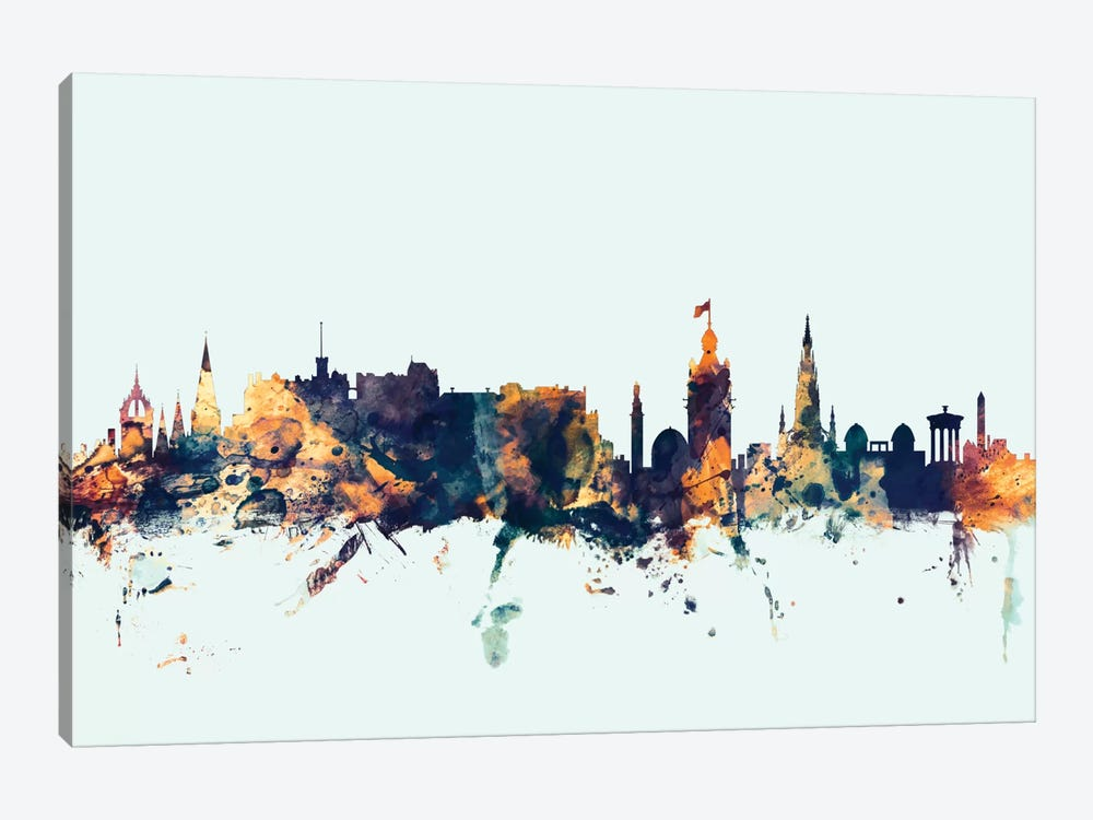 Skyline Series: Edinburgh, Scotland, United Kingdom On Blue by Michael Tompsett 1-piece Art Print