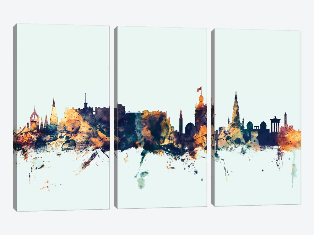 Skyline Series: Edinburgh, Scotland, United Kingdom On Blue by Michael Tompsett 3-piece Canvas Print