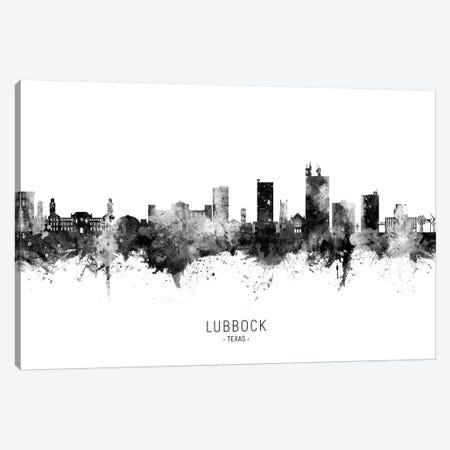 Lubbock Texas Skyline Name Black & White Canvas Print #MTO2620} by Michael Tompsett Canvas Artwork