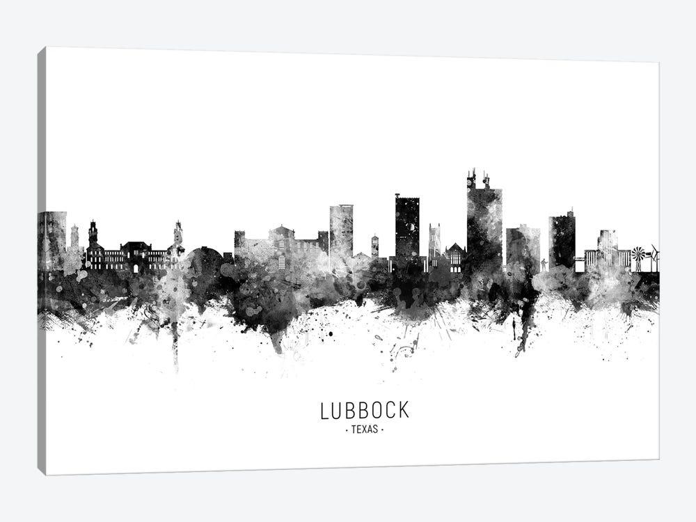 Lubbock Texas Skyline Name Black & White by Michael Tompsett 1-piece Art Print
