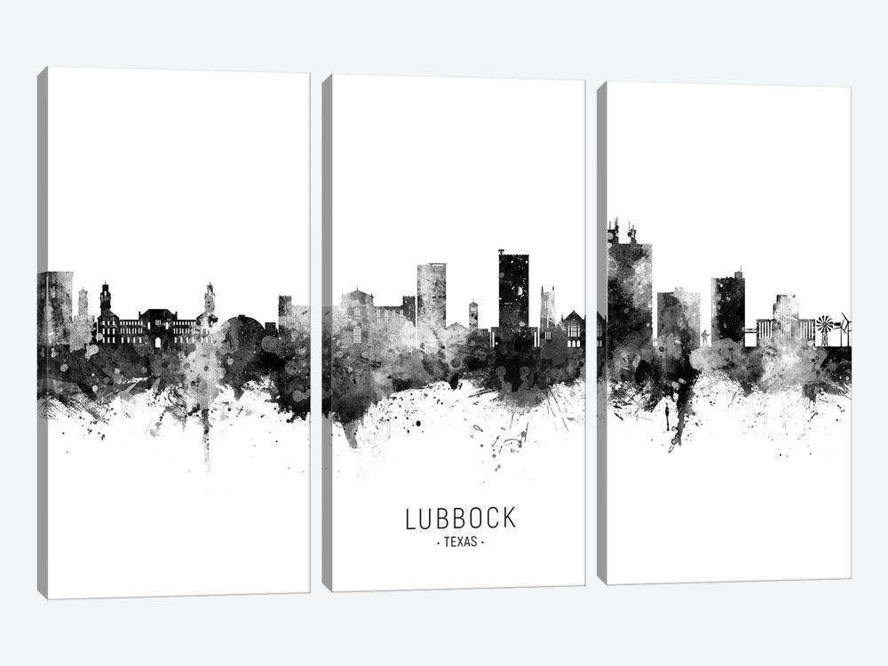 Lubbock Texas Skyline Name Black & White by Michael Tompsett 3-piece Canvas Art Print