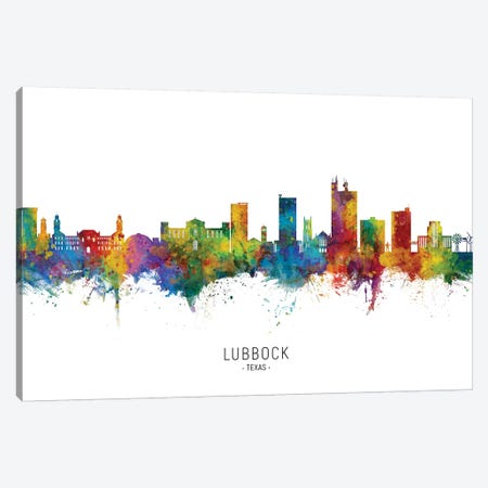 Lubbock Texas Skyline City Name Canvas Print #MTO2621} by Michael Tompsett Canvas Wall Art