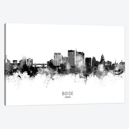 Boise Idaho Skyline Name Black & White Canvas Print #MTO2625} by Michael Tompsett Canvas Art Print
