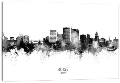 Boise Idaho Skyline Name Black & White Canvas Art Print
