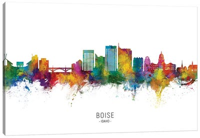 Boise Idaho Skyline City Name Canvas Art Print
