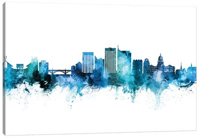 Boise Idaho Skyline Blue Teal Canvas Art Print