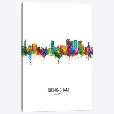 Birmingham Alabama Skyline Portrait Canvas Print #MTO2628} by Michael Tompsett Canvas Wall Art