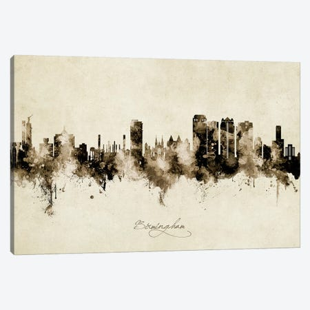 Birmingham Alabama Skyline Vintage Canvas Print #MTO2629} by Michael Tompsett Canvas Wall Art