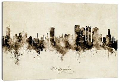 Birmingham Alabama Skyline Vintage Canvas Art Print
