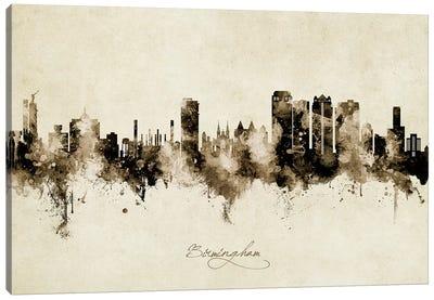 Birmingham Alabama Skyline Vintage Canvas Art Print