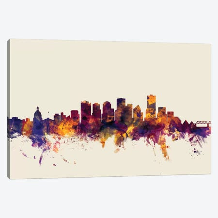 Edmonton, Canada On Beige Canvas Print #MTO262} by Michael Tompsett Canvas Print