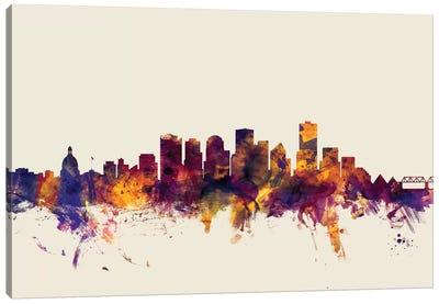 Skyline Series: Edmonton, Canada On Beige Canvas Print #MTO262