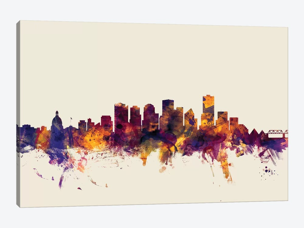 Skyline Series: Edmonton, Canada On Beige by Michael Tompsett 1-piece Canvas Wall Art