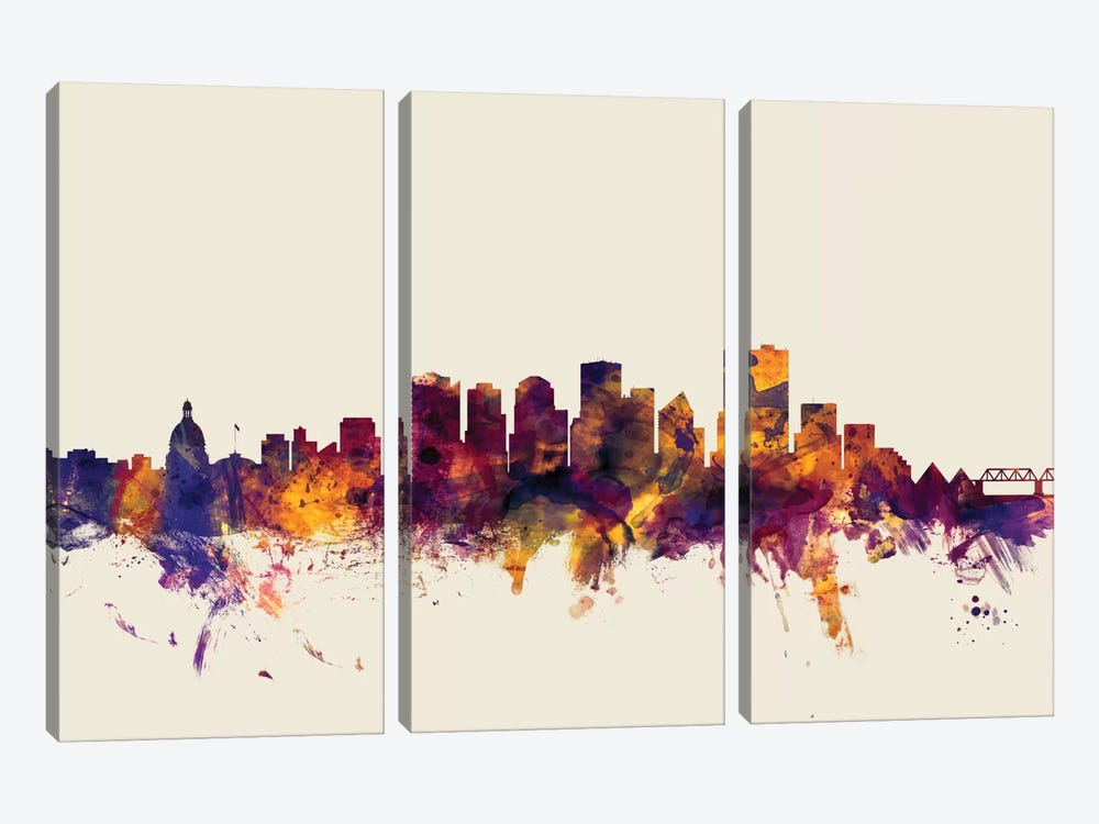 Skyline Series: Edmonton, Canada On Beige 3-piece Canvas Wall Art